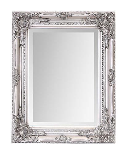 Select Mirrors Rhone - Espejo pequeño de pared de estilo barroco antiguo - Diseño vintage francés - Decoración elegante para el hogar - Plata antigua - 42 cm x 53 cm
