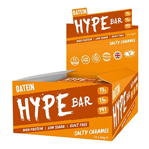 New Oatein Hype (20 x 60g) Protein Bar, High Protein, Low Sugar, Guilt Free, Salty Caramel bar with 18g Protein, 1.6g Sugar and only 199 Calories…