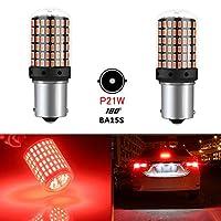 YOBIS S25シングルLEDウインカーランプ赤い針角度180°1156 BA15S P21W LED電球点滅ターンライト変換シングルバルブLED電球高散乱防止カウンターとスーパースキャッター3014SMD 144シリーズ無極性高輝度2個セット( 1156 BA15S P21W)(針角度180度、赤)