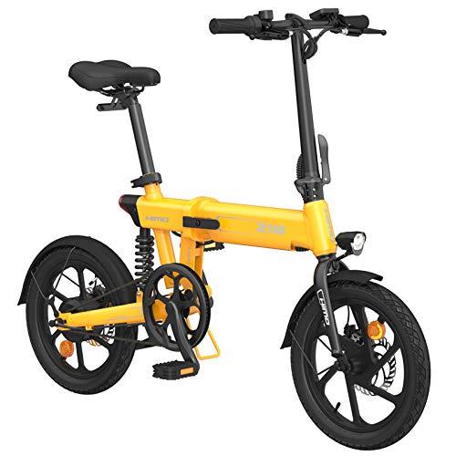 Bicicleta eléctrica para Adultos, e Bicicletas para Mujeres Hombres con batería 10AH 250W Velocidad máxima 25 km/h Portátil para Hombres Mujeres Deportes (Z16-Amarillo)