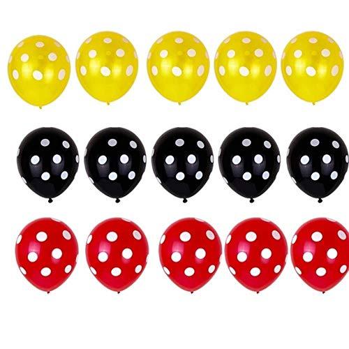 SELLA Globos de látex de Lunares Rojos y Negros Mickey Mouse Tema cumpleaños Boda Baby Shower Decoraciones de Fiesta, como Imagen, 12 Pulgadas