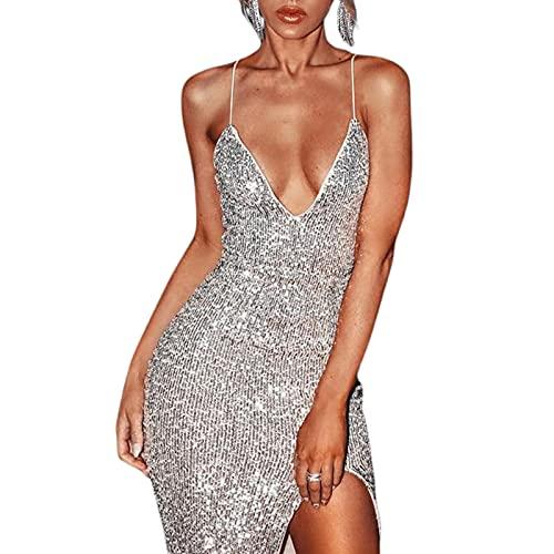 Vestido Sexy de Cóctel Vestido Ajustado de Escote en V Profundo con Lentejuelas y Abertura Vestido Elegante de Tirantes Dress para Fiesta Club Noche (Plateado, S)