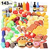 Shimfun Play Food Set, 143 Piece Play Food for Kids Kitchen - Toy Food Assortment - Pretend Food for...