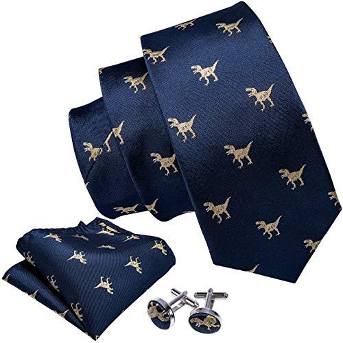 GPZFLGYN Conjunto de corbatas para hombre con patrón de dinosaurio, corbata de boda para hombre de oro azul marino, corbata de 8,5 cm, corbatas de seda de negocios para hombres
