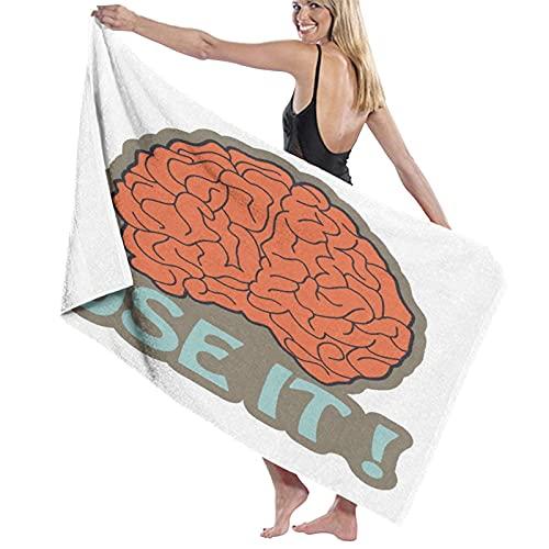 PATINISA Toalla de Playa de Microfibra,Tiene Cerebro Utilízalo Resumen Inteligencia Humana Anatomía Cerebro Corteza Gráfico,Toalla Deportiva Secado Rápido Absorbente para Deportes Viajes Playa Camping