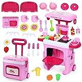 COSTWAY 2 in 1 Kinderküche Kofferset mit Lichter, Soundeffekt und Stauraum, Kinder Rollenspiel Spielzeug Küchenset höhenverstellbar, Kinder Spielküche rollbar, inkl. Zubehör