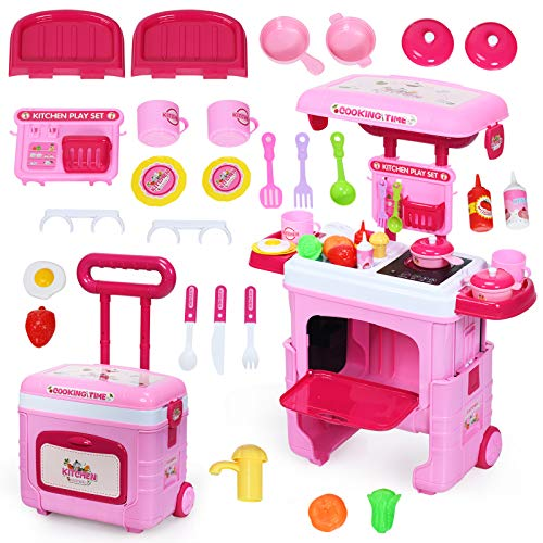 Kinderküche Kofferset - COSTWAY 2 in 1 Kinderküche Kofferset mit Lichter, Soundeffekt und Stauraum