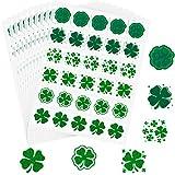 300 Autocollants de Saint-Patrick à Motifs Trèfle Autocollant de Fenêtre Scintillantes 10 Assorti Stickers de Fenêtre en Trèfle Vert Autocollants Statiques Irlandais Printemps, 6 Styles