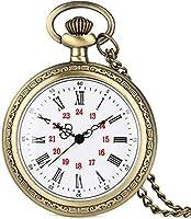 女性用のノーブルアロイグロドケース懐中時計、男性用のローマ数字の懐中時計付きの絶妙な白い文字盤、女性用の便利なスリムチェーンペンダントウォッチ