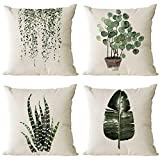Neatee Living Set of 4 Green Plants Decorative Throw Pillow Covers 20x20 Inch Linen Square Pillow Cases Outdoor Sofa Couch Home Bed Decor Cushion Covers (20 by 20)
