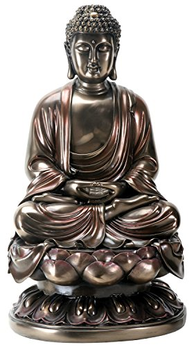 YTC 15 Inch Cold Cast Bronze Colored Resin Meditation Buddha Statue