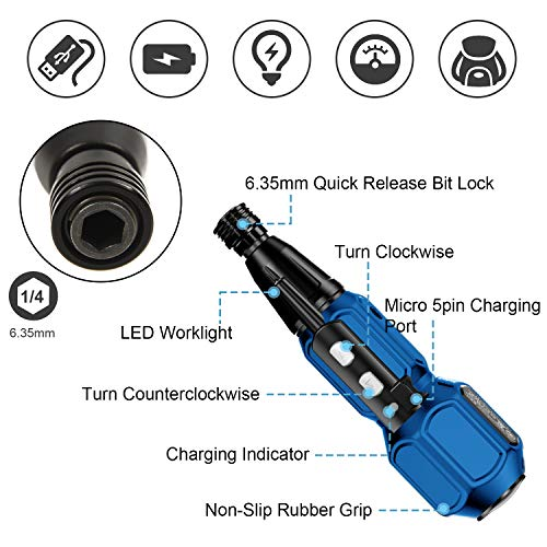 Rechargeable Cordless Screwdriver-Electric Screwdriver Hand Tool Kit for Man Women Mini Portable Cordless Power Drill with LED Light,USB Charging Cable (W/1 double side bit) Black Blue