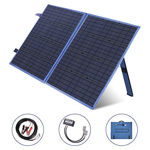SARONIC 100 Watts Faltbares Solarpanel 12V Monokristalline Ladegerät mit Ladereglerfür Camper, Caravaning, Motorhome-Rallyes, Mobile-Offices-System 12V (Blau)