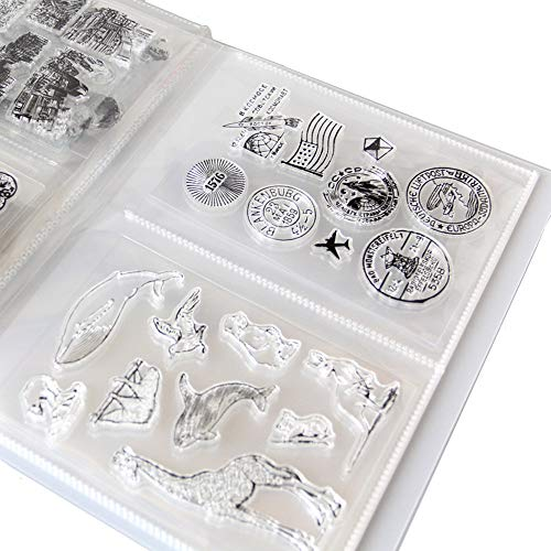 arriettycraft Lagerung für Stempel & Prägeplatten Aufbewahrungstaschen Album 80 Taschen 16x11cm 2 Pro Seite Stanzbögen Organizers