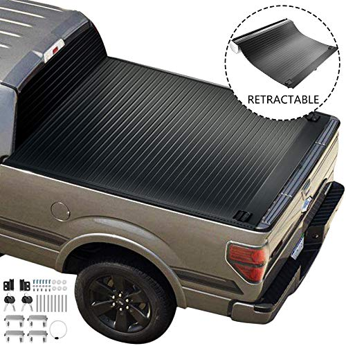 VEVOR Truck Bed Cover for 2010-2020 Ford F-150, Tonneau Cover Fits 5.5ft Bed, Truck Topper Hard Cover, Pickup Truck Bed Accessories, Retractable Auto Truck Bed Tonneau Cover with Water Drain Tubes