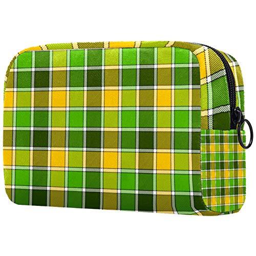 Geschenke für Männer Frauen Schminktasche Kulturbeutel Kleine Kosmetiktasche - Grün Gelb Plaid