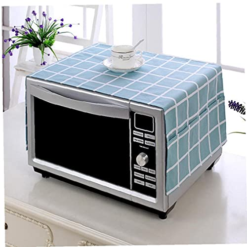 TOSSPER 1pc Microwave Oven Dustproof Cover Kitchen Caffee Workshop Bar Cotton & Linen Fabric Protective Cover