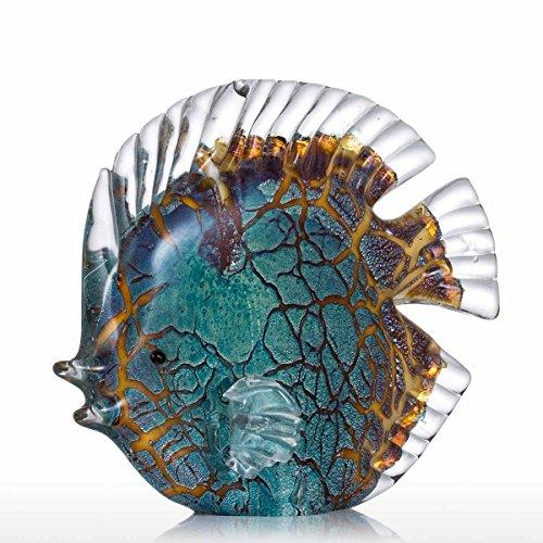 Tooarts, scultura decorativa in vetro per la casa, stile moderno, a forma di pesce tropicale maculato, multicolore Type 1