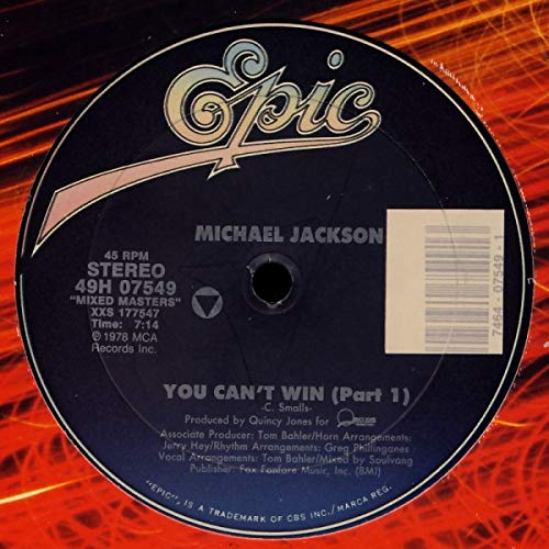 Billie Jean/You can't win (part 1, mixed masters series) [Vinyl Single]