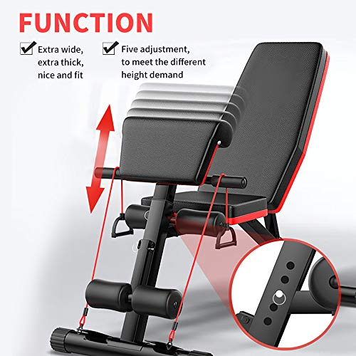 Adjustable Workout Exercise Weight Bench Equipment for Home Gym, Folding Multi-functional Supine Bench Sit Up Slim Body Equipment Machine, Incline Extension AB Bench for Strength Training Equipment
