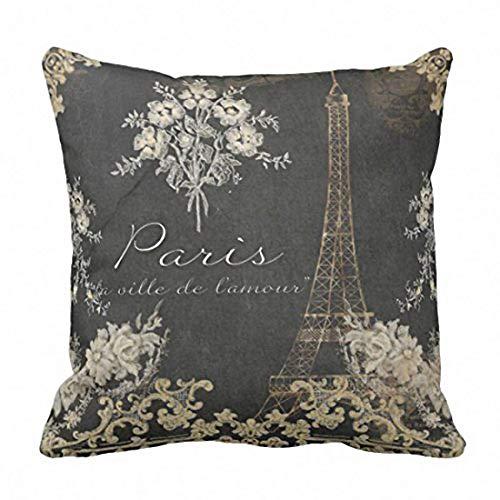 Fundas de Cojines Housses de Coussin décoratives à fermeture éclair Black Paris City of Love Eiffel Tower Chalkboard Tan Antique