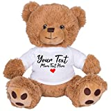 Cute Custom Teddy Bear with Personalized Custom Text: 8 Inch Brown Teddy Bear Valentine's Day Stuffed Animal White Shirt YT