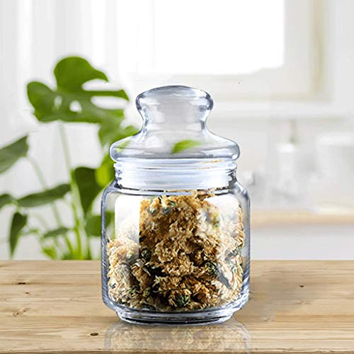 Tarro de Almacenamiento Glass Canister Set for la cocina, los alimentos jarras de almacenamiento con tapa hermética, galleta, caramelo, nueces, aperitivos, cereales tarros, contenedores de almacenamie