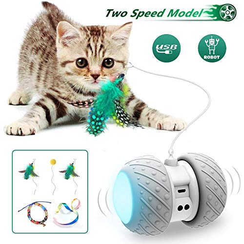 Interactive Robotic Cat Toys,Automatic Irregular USB Charging 360 Degree Self Rotating Ball,Automatic Feathers/Birds/Mouse Toys for...