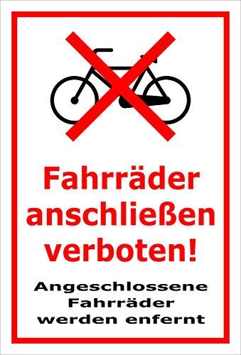 Melis Folienwerkstatt Schild - Fahrräder anschließen - 30x20cm | 3mm Hartschaum – S00050-018-B -20 VAR.