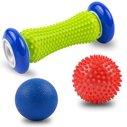 Igelball Fußmassage Set Fußroller Massagebälle und Faszienball, Massieren Sie die Muskeln Durch Triggerpunkttherapie, für die Fußsohlen, Beine, Arme um Müdigkeit zu Llindern 3er Set Massagebälle