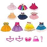 Lembani 10Pcs Fashion Mini Petite Princess Doll Clothes Dress Outfits for 6inch Mini Girl Dolls Dress up Accessory Girl Birthday Gifts