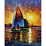 RTCKF Wall Art Canvas Oil Painting of Sailing Ship in The Wallpaper Wall Living Room Decoration Canvas Painting Set Adults Home Decoration A1 30x40cm
