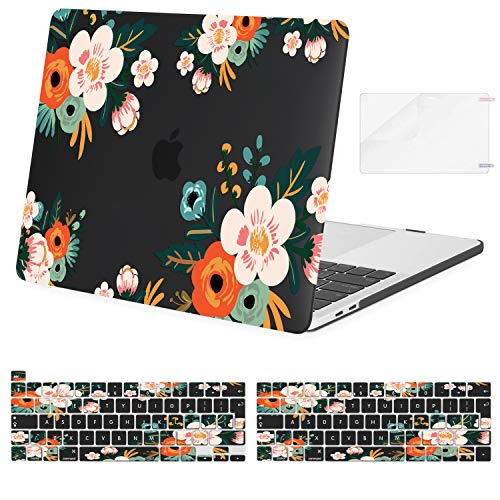 MOSISO Compatible with MacBook Pro 13 inch Case 2016-2020 Release A2338 M1 A2289 A2251 A2159 A1989 A1706 A1708, Plastic Begonia Hard Shell Case&Keyboard Cover Skin&Screen Protector, Black