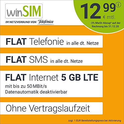 Handyvertrag winSIM LTE All 5 GB - ohne Vertragslaufzeit (FLAT Internet 5 GB LTE mit max 50 MBit/s mit deaktivierbarer Datenautomatik, FLAT Telefonie, FLAT SMS und EU-Ausland 12,99 Euro/Monat)