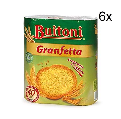 6x Buitoni Granfetta Fette Biscottate 40 fette Zwieback duftend und leicht Kekse 300g