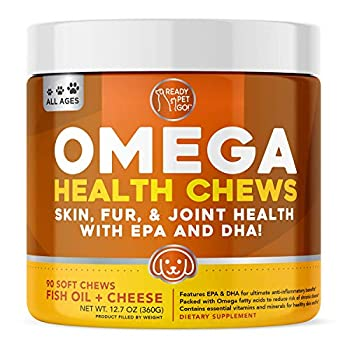 Ready Pet Go! Omega 3 for Dogs   Fish Oil for Dog Shedding Skin Allergy Itch Relief Mange and Hot Spots Treatment   EPA & DHA   Natural Joint Supplement for Dogs Heart and Brain Health   90 Chews