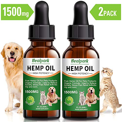 Hemp Oil for Dogs Cats - 2 Pack 1500mg - Separation Anxiety, Joint Pain, Stress Relief, Arthritis, Seizures, Calming Dog Treats - Organic Hemp Seed Oil Extract