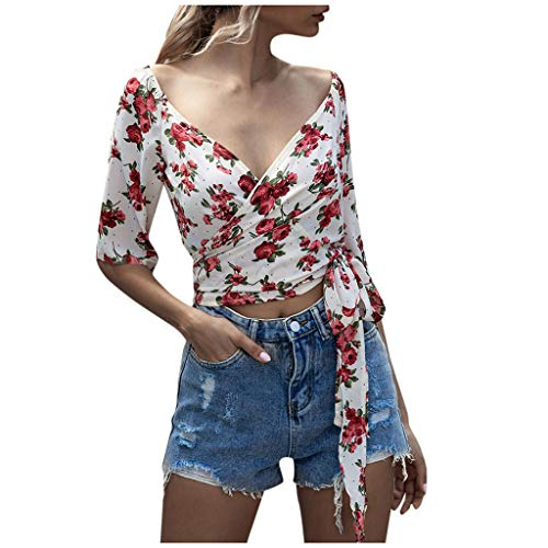 Fantastic Prices! Toimothcn Womens Floral Print Bell Sleeve Tops Blouse Casual Loose V Neck T Shirt(...