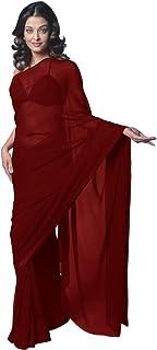 Women's Bollywood Chiffon Plain Sari Festival Uniform Saree Wrap Fabric Unstitched Blouse Piece Party Wear