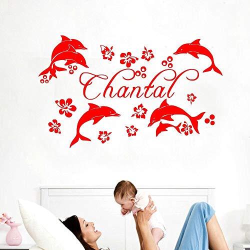 Fotobehang dolfijn aangepaste naam gepersonaliseerde kinderen kinderkamer ontwerp verwijderbare meisje slaapkamer DIY muursticker 50.4x81.6cm