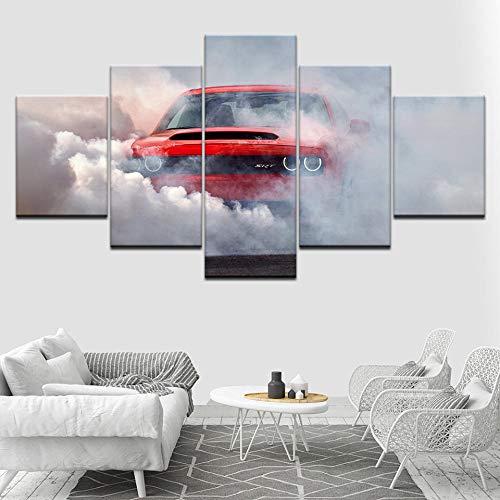 ukooo 5 afbeeldingen op canvas Dodge Challenger Demon auto muurkunst schilderijen modulaire behang posters afdrukken woonkamer decoratie