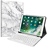 Fintie Keyboard Case for iPad Air 3rd Gen 10.5' 2019 / iPad Pro 10.5' 2017 - SlimShell Stand Protective Cover w/Magnetically Detachable Wireless Bluetooth Keyboard and Pencil Holder, Marble