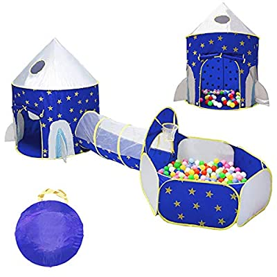 LOJETON 3pc Rocket Ship Kids Play Tent, Tunnel & Ball Pit with Basketball Hoop for Boys, Girls and Toddlers - Indoor/Outdoor Use Pop Up Rocket Tent from LOJETON