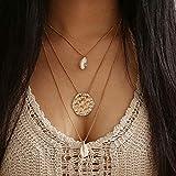 Nicircle 海の風 シェル ビーチ ターコイズ 三層ネックレス ゴールド セクシー 母の日ギフト 誕生日プレゼント 優雅な 可愛い 首飾り Women Fashion Cross Pendant Necklace Chain Elegant Jewelry