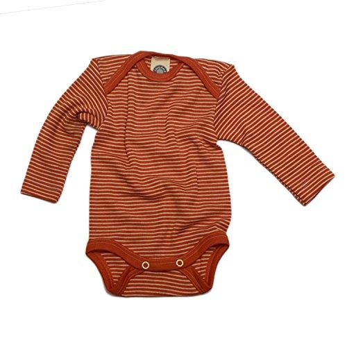 Cosilana Baby-Body, 70% Wolle, 30% Seide, für Baby Gr. 9 Monate , Orange - Orange à rayures