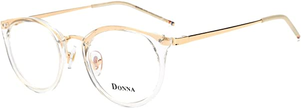 DONNA Stylish Clear Lens Frame Glasses Samll Circle Blue Light Blocking for Computer DN08