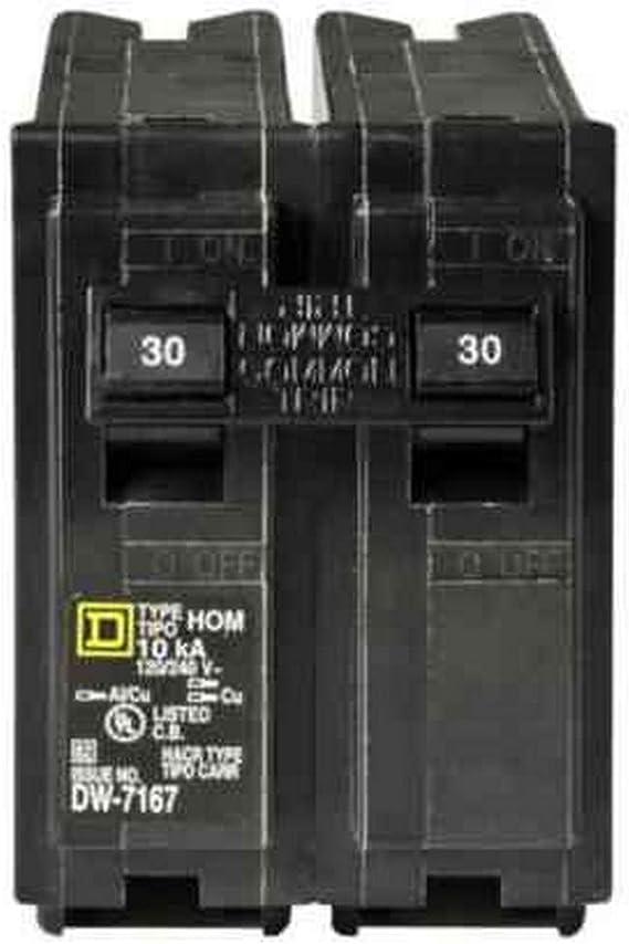30 AMP 2 POLE 240 VOLT CIRCUIT BREAKER NEW SQUARE D HOM230, 1