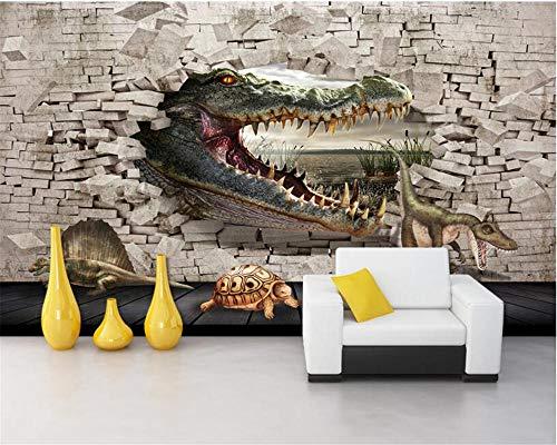HDDNZH muurschildering op maat, 3D grote muurschildering behang, dier, krokodil, dinosaurus, tv, sofa, achtergrond van de muur, kinderen, woonkamer, slaapkamer, huisdecoratie 290cm(H)×480cm(W)