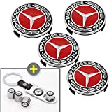 HEYCAR 4PCS 75mm/2.95'' Wheel Center Hub Logo Caps Covers for Mercedes Benz with Bonus 4PCS Tire Valve Cover and 1 PC Keychain Fit for Benz(Red)