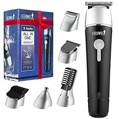 Ceenwes Updated Waterproof Beard Trimmer Kit for Men 5 in 1 Cordless Body Groomer Kit of Mustache Trimmer Nose Hair Trimmer Precision Trimmer from Ceenwes